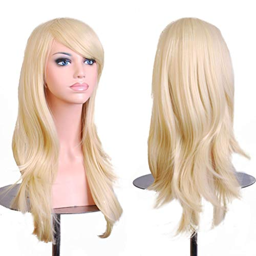 BERON Long Wavy Curly Wig High Standard Silk Female Cosplay Wig with Wig Cap (27'' Light Blonde)