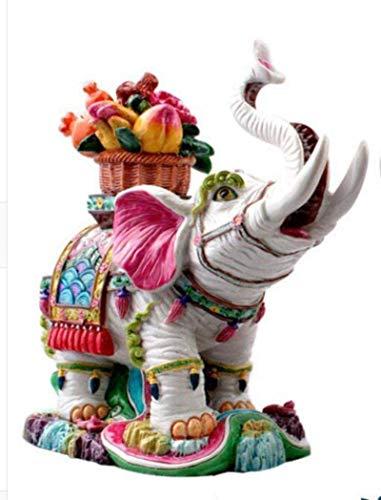 Equipo de vida Estatua Adornos Esculturas Jardín Cerámica Elefante Botella Elefante Flor Canasta Adorno Regalo de matrimonio Artesanía casera Decoración de sala de estar Artesanía decorativa A_As_S