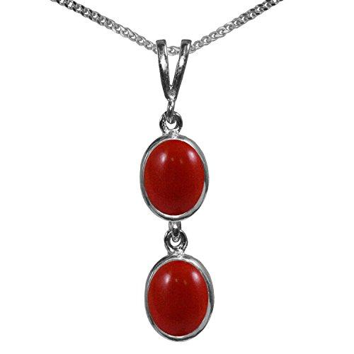 BJC® 925plata de ley Natural rojo Coral doble Drop Oval Colgante Solitario...