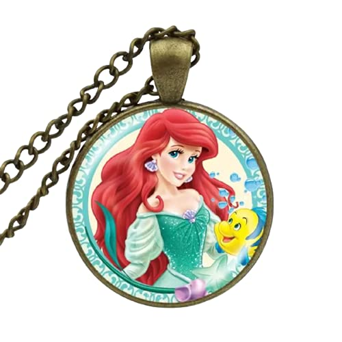 Collares colgantes KARAIRIS 2021 Anime La Sirenita Ariel Collar Princesa Joyería Arte Arte Arte Vidrio Para Niñas Niños