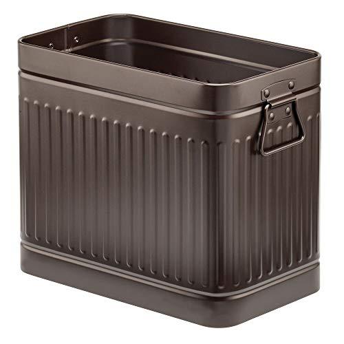 mDesign Papelera metálica para baño o aseo – Elegante cubo de basura rectangular con asas – Contenedor de residuos de diseño en metal resistente con revestimiento anticorrosión – color bronce