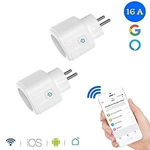 immagine di GoKlug - Presa Wi-Fi intelligente, con timer digitale, contatore di corrente, presa Wi-Fi, per i vostri elettrodomestici da ovunque, compatibile con Alexa, Google Home (2 pezzi modello A)