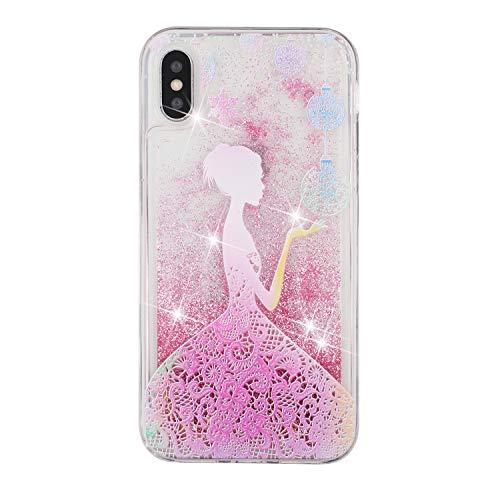 Everainy Coque Compatible pour iPhone XS/iPhone X Silicone 3D Paillettes Glitter Transparent avec Motif Souple Bumper Liquide Gel Etui Bling Antichoc Caoutchouc Cover (Fille)