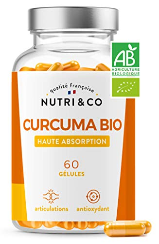 Curcuma BIO Breveté en Gélules | Garanti sans Pipérine et Poivre Noir | Curcumine Haute Absorption x45 via Etudes Cliniques | Antioxydant & Articulation | 60 Capsules Vegan Made in France | Nutri&Co