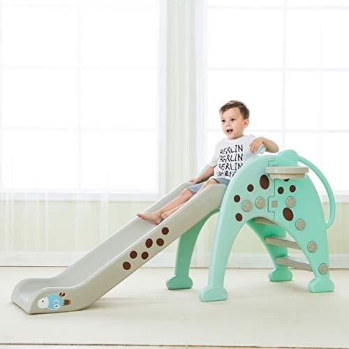 MYRCLMY Parque infantil familiar, mejor escalador con tobogán oscilante y estante de baloncesto y parque infantil 3 en 1, interior y exterior, color azul