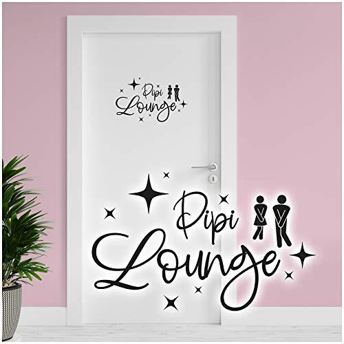 Dekoaufkleber Pipi Lounge 26x16cm für Badezimmer Bad WC Toilette Tür Wandtattoo Unisex Wand Sticker Aufkleber lustig witzig selbstklebend YX025 (Schwarz)