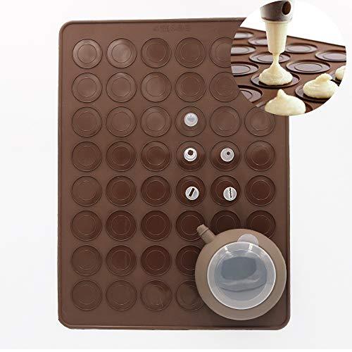 Dr.Pedi Macaron Silicone Baking Mats Baking Mold Set 48 Capacity Silicone Macaron Baking Kit Decorating Piping Pot with 5pcs Nozzles