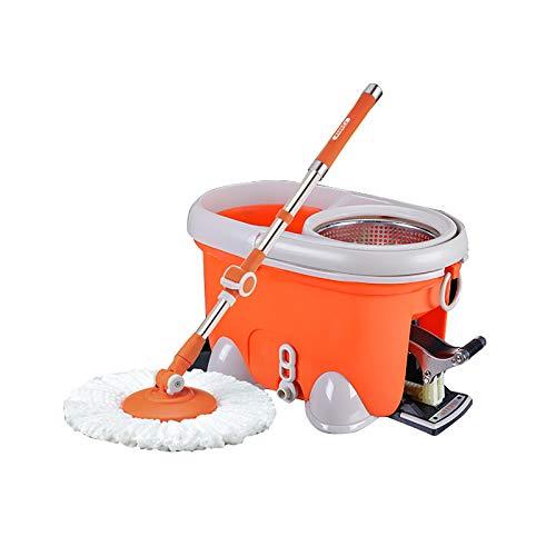 QSJY Sistema de fregona y cubo de microfibra que no mancha tus manos, juego de fregona y cubo con sistema de secado de pies, herramientas de limpieza (tamaño : juego de cubeta de fregona)