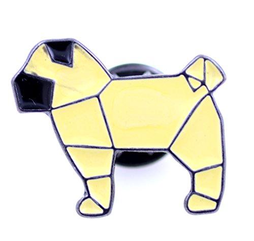 Lizzyoftheflowers–Esmalte plegable de papel Origami amarillo perro/perrito Pin/broche