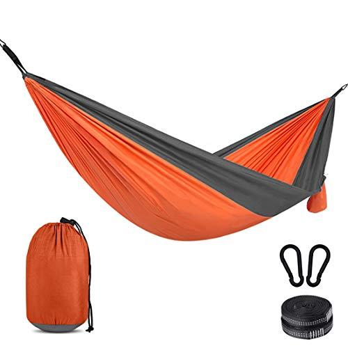 Eterbiz Hamaca de camping 275 x 140 cm para 2 personas, portátil, ligera, de nailon, con correas para mochilero, camping, viajes, playa, jardín