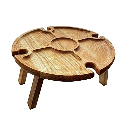 Wooden Outdoor Folding Picnic Table, Outdoor Portable Mini Table, Portable Picnic Creative 2 in 1 Wine Glass Rack & Compartmental Dish, Outdoor Food Wine Table for Garden, Travel, Beach Table