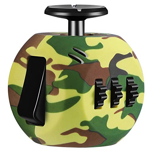 FIDGET DICE 6 Sides Release Stress Anxiety and Relax Cube for Children and Adults (Camo Green)