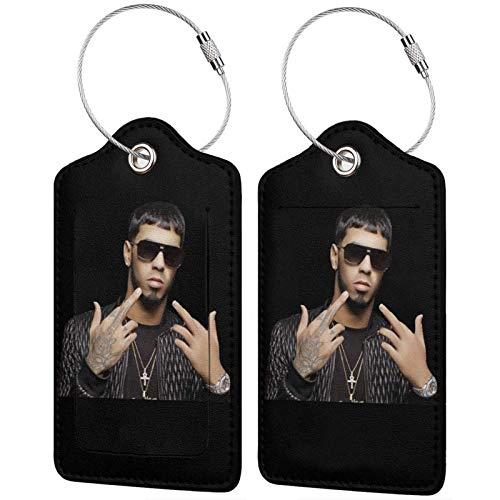 Anuel Aa Leather Luggage Tag Band Travel Accessories Suitcase Tags Identifiers Business Id Card2 Pcs Black