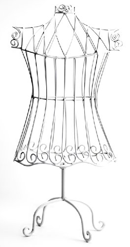 Manual Woodworker Rustic White Child Size Dress Form Mannequin, Decorative Vintage Decor Bird Cage Design, 21-Inch