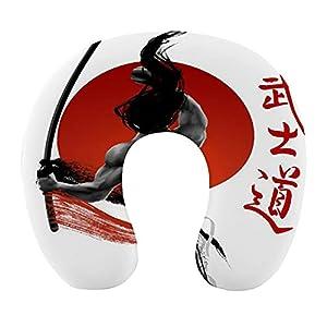 CIKYOWAY Almohada Viaje,Samurái japonés en práctica con músculos Katana Sol japonés Disciplina asiática,Espuma de Memoria cojín de Cuello,Almohadas de Acampada,Soporte de Cuello para Viaje Coche