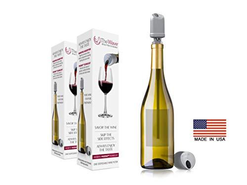Der Wave Wine Filter & Aerator von PureWine | Keine Weinkopfschmerzen mehr | Entfernt Sulfite und Histamine Flaschenweise (2er Pack)