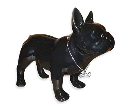 Spardose Mops stehend aus schwarzer Keramik mit silbernem Halsband 19 x 15 cm