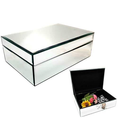 meetart Silver Glass Mirrored Jewelry Box Simple Classic Storage Organizer High-end Big Mirror Box.