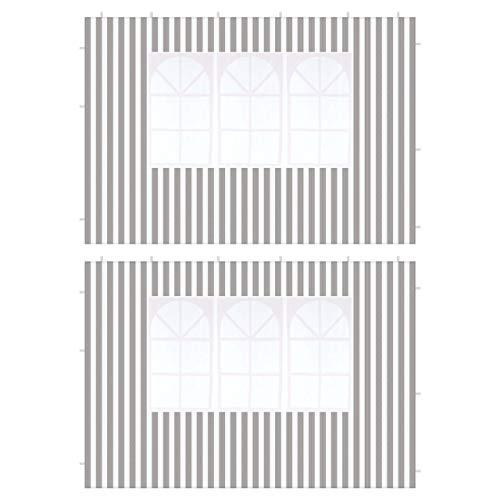 Nexos 2 Stück Seitenteile Seitenwände Ersatzwände mit Fenster für PE-Pavillon Partyzelt Gartenzelt – 298 x 190 cm/PE 100 g/m² – Farbe: anthrazit
