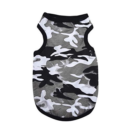 Coversolat Camouflage Weste Hunde Kleidung Sommer T-Shirt Ärmelloses Shirt Hund Katzen Hundekleidung Hundeshirt