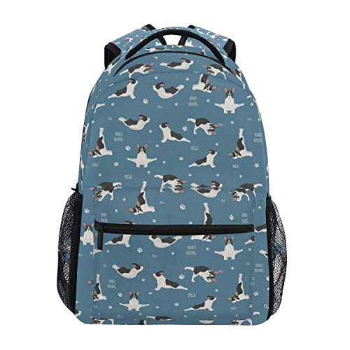 ALAZA Star Heart Husky Dog Print Unicorn Yoga French Bulldog Large Backpack Personalized Laptop iPad Tablet Travel School Bag with Multiple Pockets
