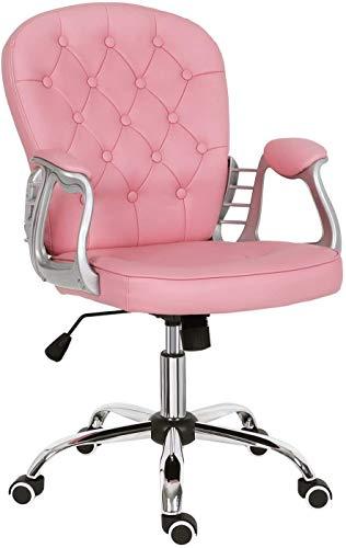 QTRT Silla giratoria acolchada de altura ajustable y cómoda, silla de oficina de cuero, silla de ordenador en la parte posterior, muebles de hogar/oficina (rosa)