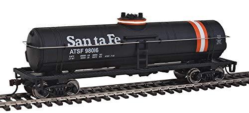 Walthers Trainline HO Scale Model Santa Fe Tank Car, Black/Orange/White
