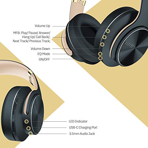 Wireless Bluetooth Headphones Over Ear, DOQAUS 52 Hrs Foldable Headphones with 3 EQ Modes, Hi-Fi Stereo Comfortable Earpads Bluetooth Headsets Wired Mode with Mic for Cellphone PC TV (Shadow Grey)