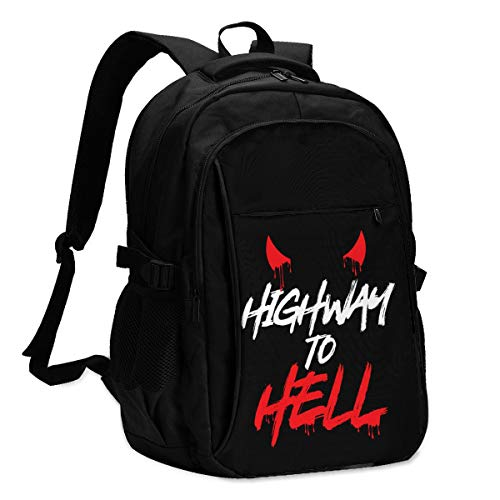 HX Highway to Hell Ac Dc Travel Laptop Backpack, Work Bag Lightweight Laptop Bag with USB Charging Port, Anti Theft Business Backpack, School Rucksack