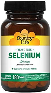 Country Life Selenium 100 mcg Yeast Free, 180-Count