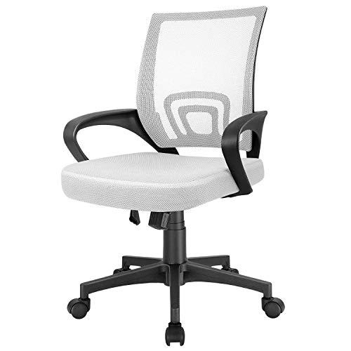 Furmax Mesh Computer Desk Swivel Ergonomic Lumbar Support Home Office Task Chair, White