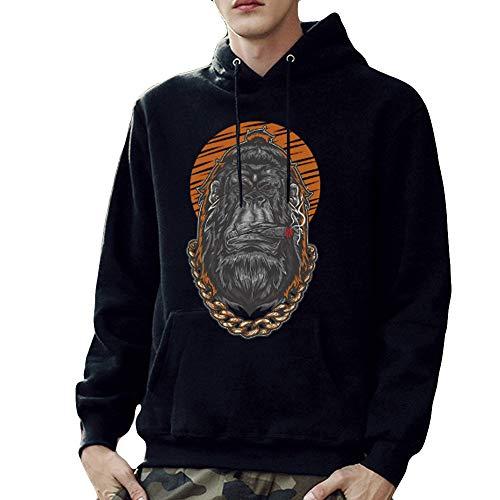 Sweat à Capuche Homme,FNKDOR Hommes Sweat-Shirt Imprimé Arrêtez-Vous Sweater Manches Longues Chandail Tops Blouse(Noir,XL)