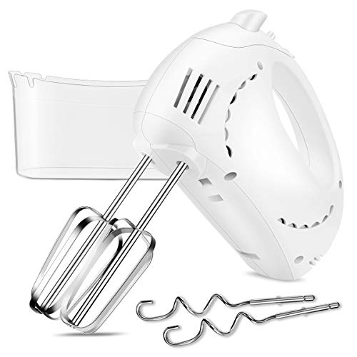 Electric Hand Mixer with Turbo, 5 Speed Hand Beater Kitchen Mixer with 2 Wider Beaters, 2 Dough Hooks and Storage Case (Beige)