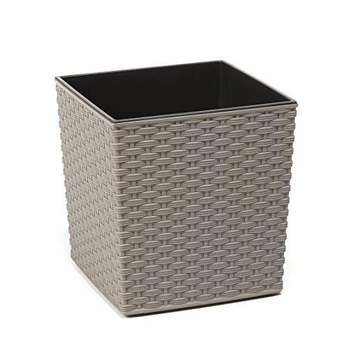Lamela - Vaso per fiori in rattan Juka, per piante aromatiche, fino al 40% di legno, 19 x 19 x 19,5 cm, per davanzale o balcone, decorazione per la casa, mix di fiammiferi, giochi (grigio)