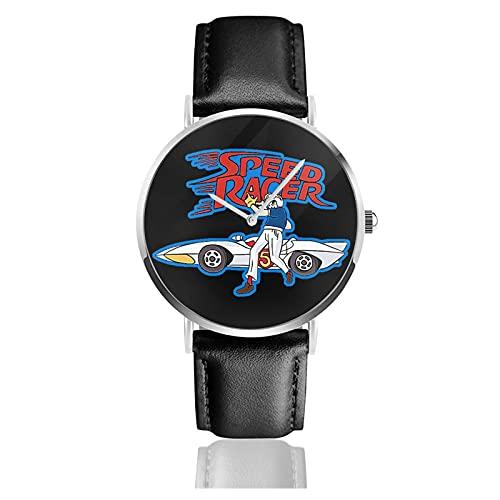 Relojes de Pulsera Reloj de Cuarzo Casual Negocios Unisex Speed Racer Reloj Moda Cuero Negro
