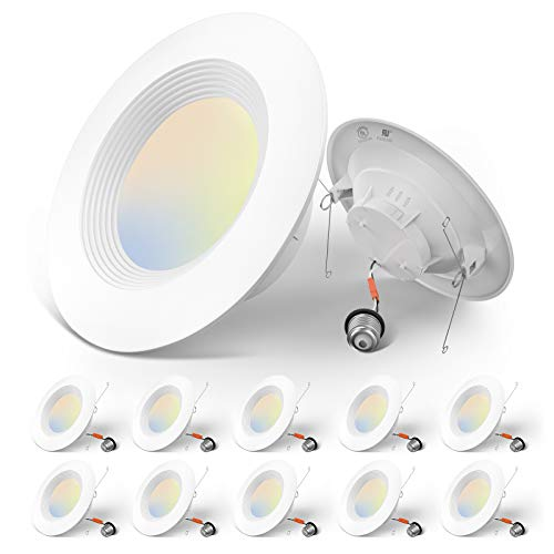 Amico 5/6 inch 3CCT LED Recessed Lighting 12 Pack, Dimmable, Damp Rated, 12.5W=100W, 950LM Can Lights with Baffle Trim, 3000K/4000K/5000K Selectable, Simple Retrofit Installation, UL & Energy Star