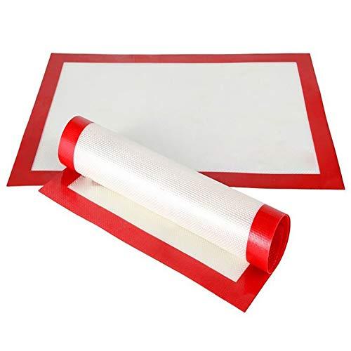 CFPacrobaticS Silikon Backpapier Matte Antihaft Hitzebeständige Backformen Backblech Camping Picknick BBQ Grill Küchenhelfer Werkzeug Weiß + rot