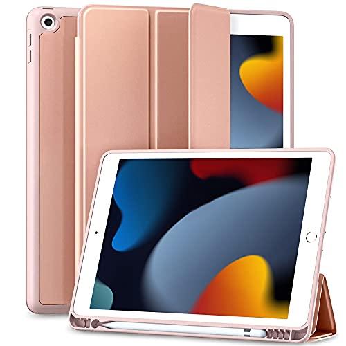 Maledan Hülle für iPad 9/8/7 Generation/iPad 10.2 Hülle 2021 mit Stifthalter, Smart Folio Weich TPU Schutzhülle für iPad 8./7. Generation 2020/2019[Auto Schlaf/Weckfunktion] - Rosa