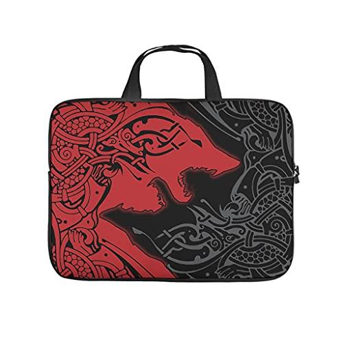 Viking - Maletín para portátil (tamaño grande), diseño de lobo vikingo