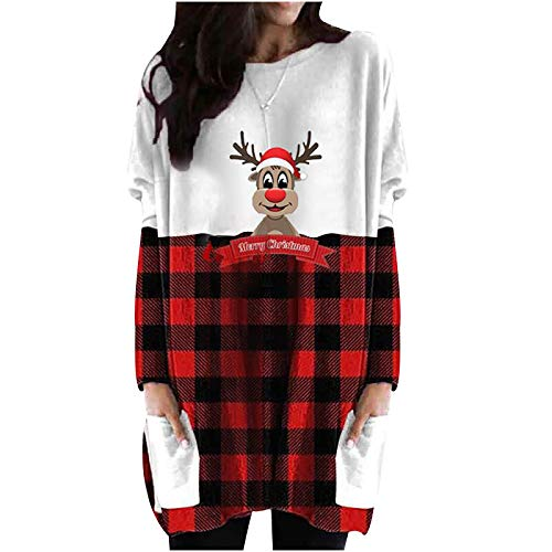 Graphic Tunics for Women to Wear with Leggings Merry Christmas Tree Reindeer Plaid Splicing Long Sleeve Pullover Tops Brown