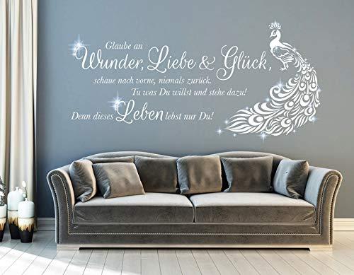 tjapalo® pkm490 wandtattoo wohnzimmer spruch zitate Wandsticker glaube Wandtattoo glaube an wunder liebe und glück Pfau mit glitzer Kristallen viele Farben, Farbe: Silber, Größe: B120xH49cm