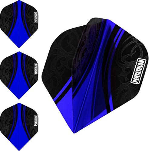 ABC Darts Flights Pentathlon - Tribal Dunkel Blau - 10 sätz (30 stück Dart Flights)