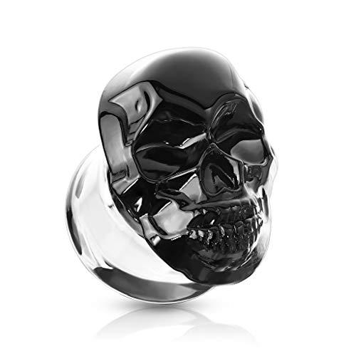 BlackAmazement Glas Borosilikatglas Tunnel Plug Piercing 3D Totenkopf Schädel Skull schwarz Mehrfarbig Biker Gothic Damen Herren (Farbe Schwarz - 10mm - 1 Stück)