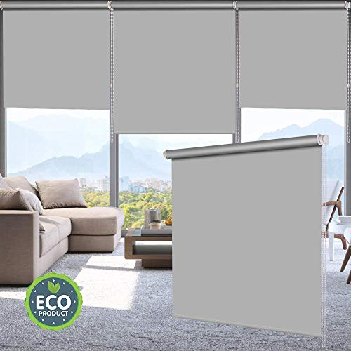 LUCKUP 100% Blackout Waterproof Fabric Window Roller Shades Blind, Thermal Insulated,UV Protection,for Bedrooms,Living Room,Bathroom,The Office, Easy to Install 26' W x 79' L(Grey)