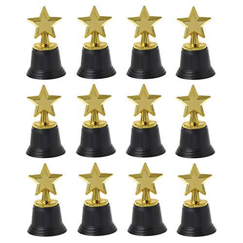 siwetg 12 Stück Star Gold Award Trophäe 11,4 cm Gold Star Trophäe für Auszeichnungen Oscar Awards Hollywood Partys Bulk School Kindergarten