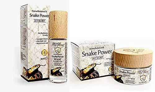 SET MyGlamy Naturkosmetik Snake Power LIFT 30 ml Serum+ 50 ml Gesichtscreme mit 7% Schlangengift+ Kurkuma+ Hyaluronsäure Elixir Anti Age Snake POWER GLAS-TIEGEL