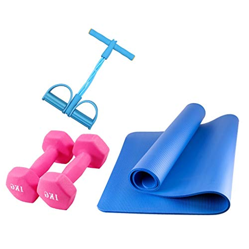 Yunteng-trainingsapparatuur Fitness Yoga Set 4-delige 1Yoga Mat, 2x2kg Dumbbells, 1xYoga Resistance Band Voetpedalen, Perfect Yoga Set voor Begginers