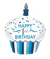 "1st Birthday Cupcake Boy Supershape Foil Balloons 29""/73cm W x 36""/91cm H P40"