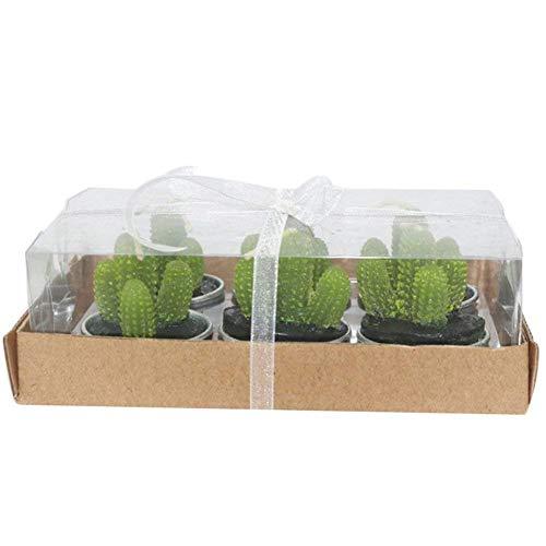 lumanuby 6pcs/caja Cactus velas Multi-carne artificial en maceta plantas velas verde plantas velas para cumpleaños boda decoración para el hogar