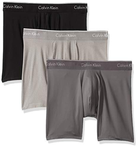 Calvin Klein Men's Microfiber Stretch Multipack Boxer Briefs, black/Grey sky/grey Heather, M